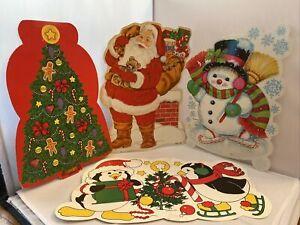 Vintage-Lot-of-4-Eureka-USA-Christmas-Paper-Wall-Decorations-Santa-Tree-Snowmen