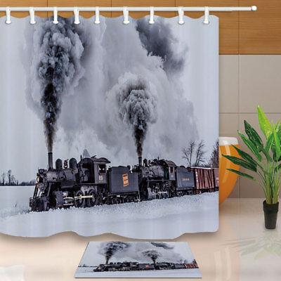 Retro steam train Shower Curtain Bedroom Waterproof Fabric /& 12hook 71*71inch