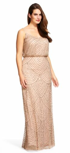 NWT Adrianna Papell Embellished Blouson Gown Taupe Pink Size 8 10 12 14 16  14W