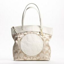 COACH LAURA LIGHT KHAKI+WHITE SIGNATURE LOGO TOTE,HANDBAG-NEW+TAG-# 18335