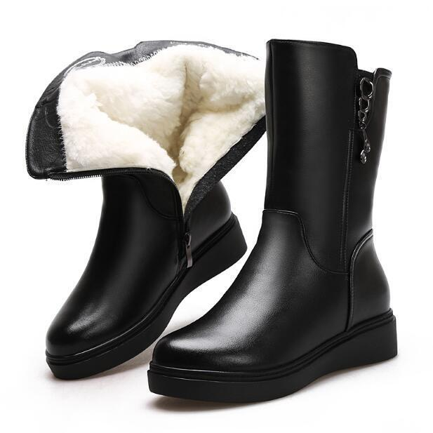 Women Fur Lining Mid Calf Boots Zip Wedge Heel Leather Shoes Ske15