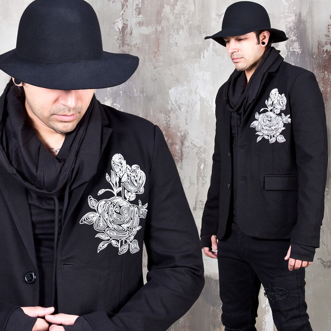 NewStylish Mens Fashion Outer Outwear Flower Embroidered Two Button Slim Blazer