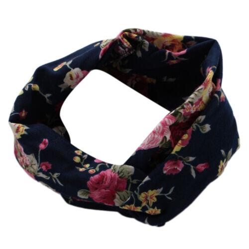 Women Turban Headband Floral Prints Bandanas Elastic Hair Bands Accessories Gum