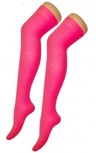 Da Donna Sopra Il Ginocchio Calze Plain /& Strisce coscia alta Calze Adulti elastico OTK