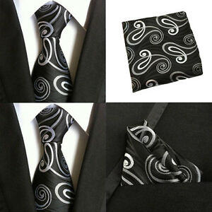 US007 Men Silk Necktie Ties Pocket Square Handkerchief Black White Flower Lot