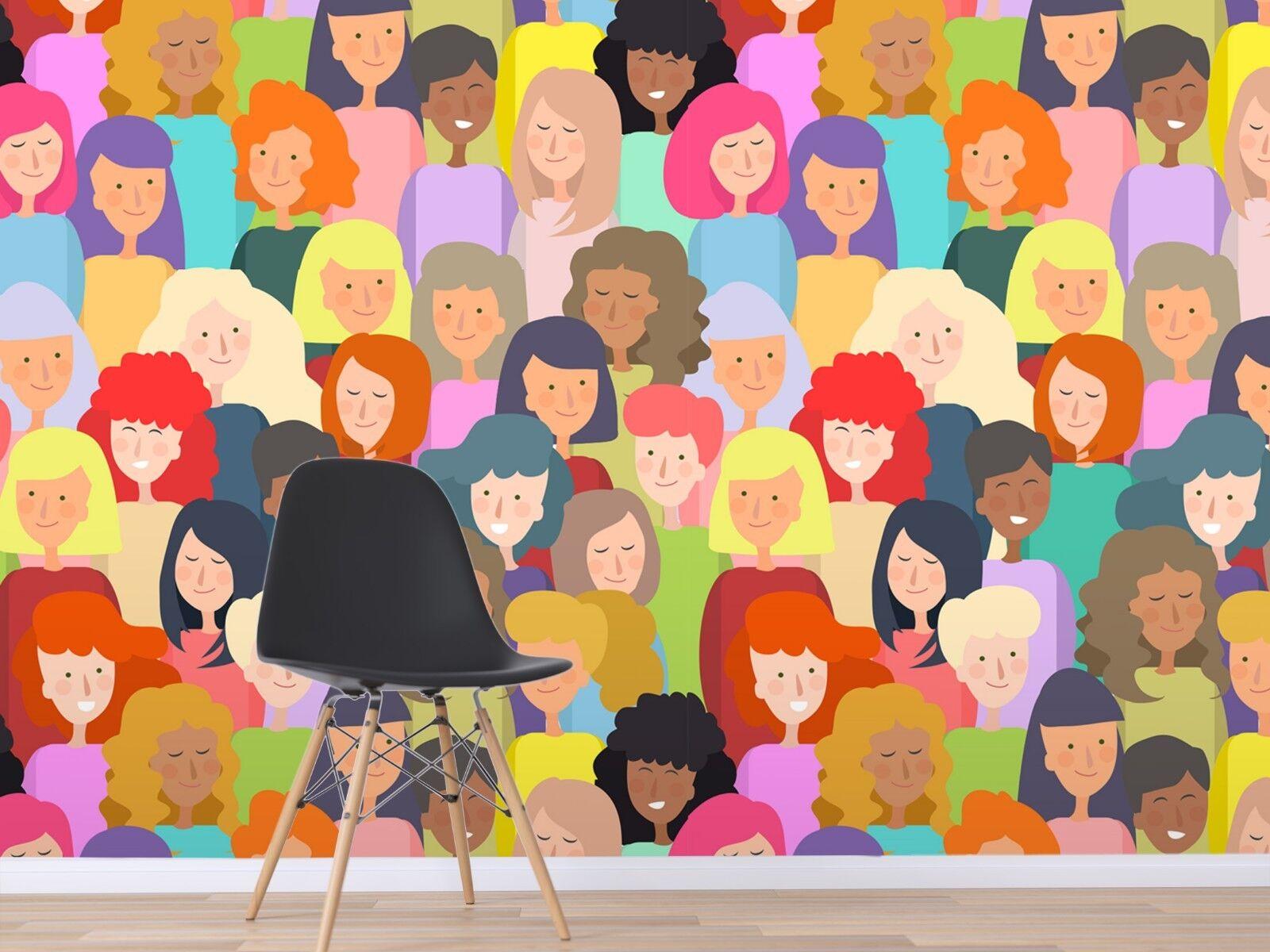 3D Leute Farb Malerei 3 Tapete Wandgemälde Tapete Tapeten Familie Kinde DE Lemon