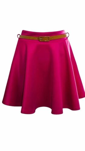 New Women/'s Ladies Plain Flared Belted Elastic Waist Short Skater Skirt 8-22