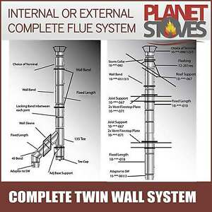 Twin Wall Flue Pipe Complete System For Multifuel Wood