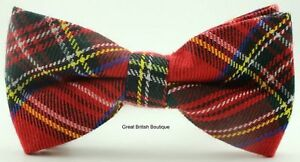 Perfect-for-Dad-Grandad-Mens-Quality-Tartan-Bow-Tie-Red-or-Green