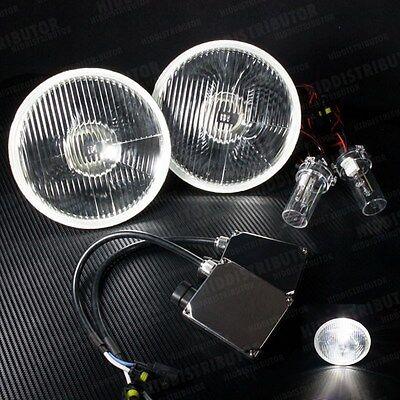 """H6024 7"""" Round Glass Chrome Housing Head Light (Car M) H4 5000k HID Xenon Kit"""