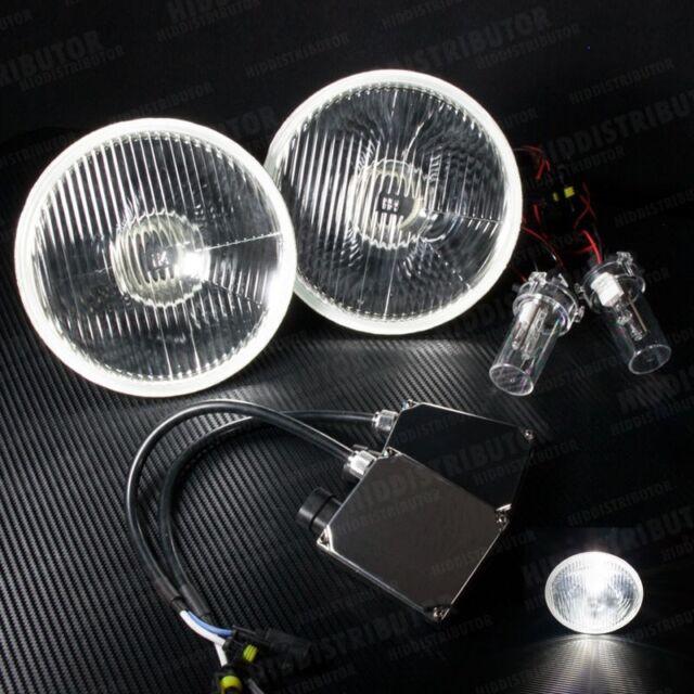 """H6024 Pair 7"""" Round Glass Housing Head Light - H4 5000k HID Xenon Kit (E)"""