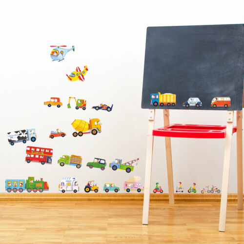Decowall Cars Transports Vehicles Kids Removable Wall Stickers Decal DW-1405