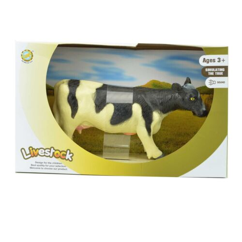Farm Animals Cow Rubber Toys Figure Kids Play Set Model With Sound