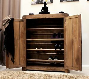 Image Is Loading Shiro Shoe Storage Cabinet Cupboard Rack Solid Walnut