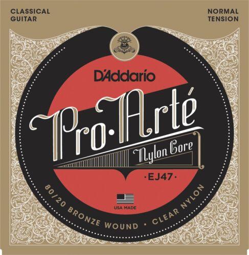 80//20 Normal Tension D/'Addario EJ47 Pro-Arte Nylon classical guitar strings