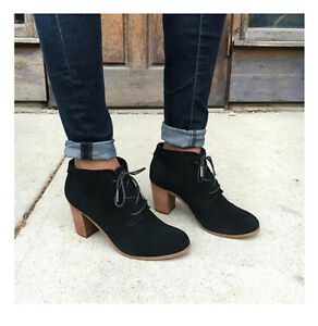aad636fd4b4 Toms Black Suede Lunata Lace-up Women s Booties Shoes. Style ...