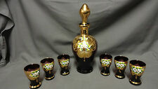 Vintage Murano Italy Hand Painted enamelled Amethyst Gold Gild Decanter Set