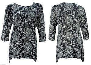 15dcb94833f new size 14 to 22 black white print stretch tunic top turn up 3/4 sleeve