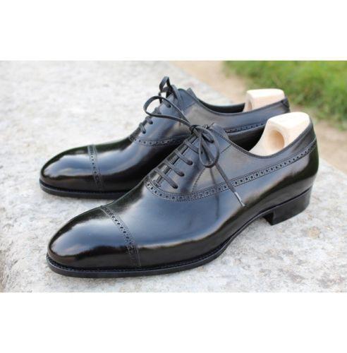 Zapatos De Vestir De hombre hecho a mano Formal Zapatos De Cuero Real Brogue Negro