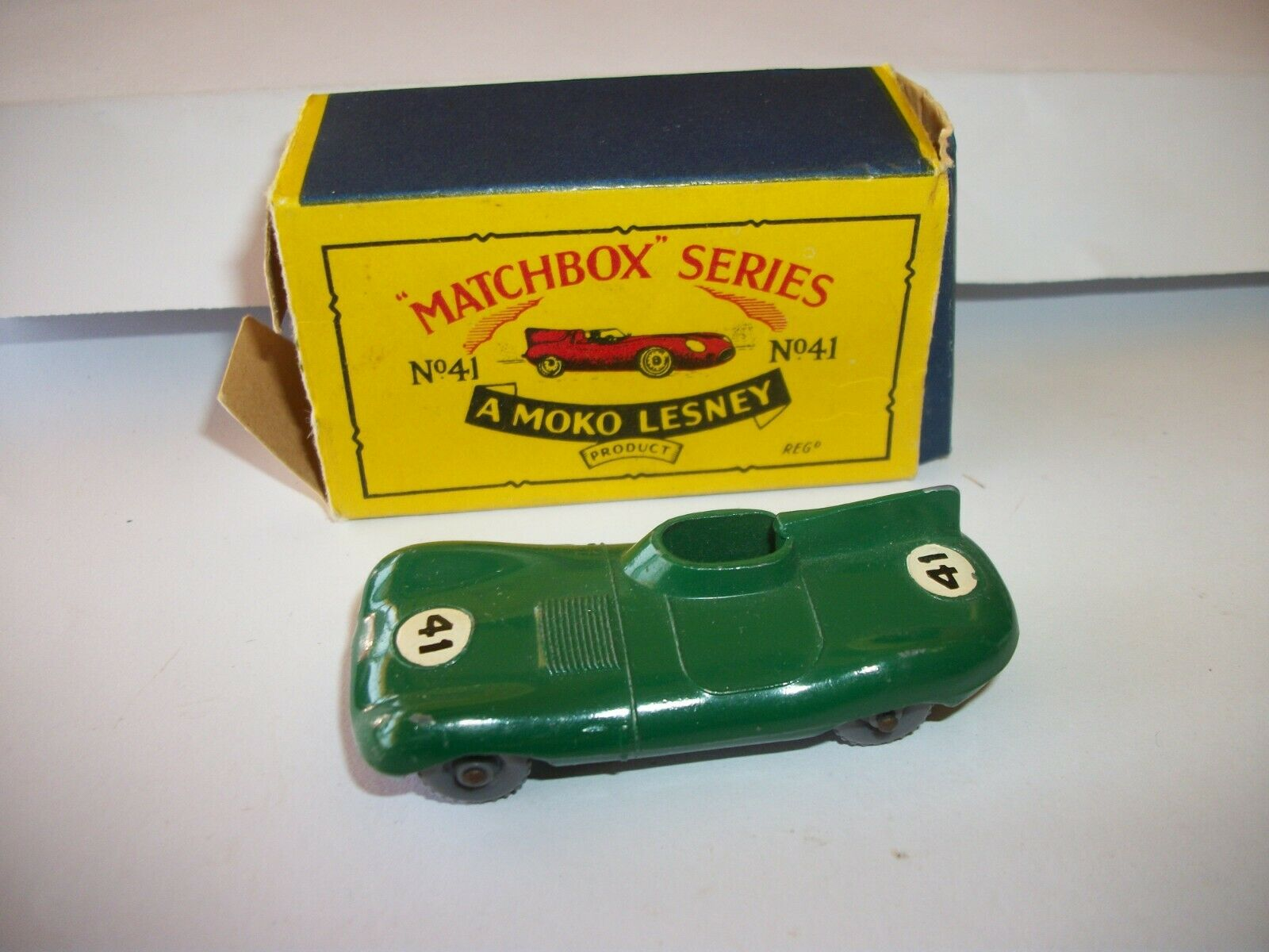 envío gratis 1957 Moko Lesney Matchbox No.41 No.41 No.41 D-Type Jaguar Con Caja  a precios asequibles