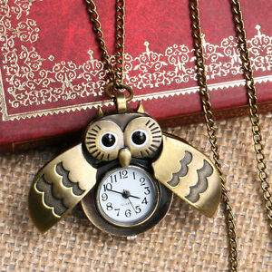 Fashion-Style-Small-Owl-Bronze-Men-039-s-Women-Pocket-Watches-Necklace-Chain-Gifts