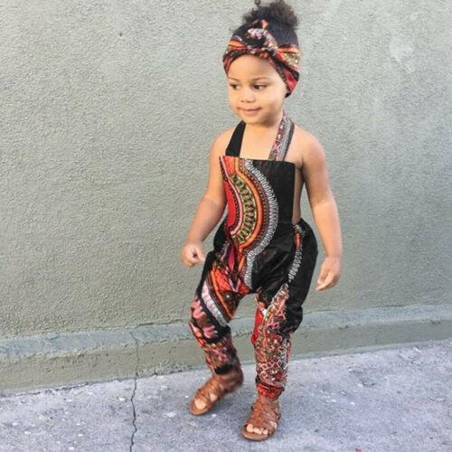 2PCS Toddler Kids Baby Girls Summer African Print Sleeveless Romper Jumpsuit Set