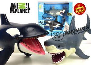 Animal-Planet-MEGA-SHARK-amp-ORCA-ENCOUNTER-Killer-Whale-Great-White-Playset-2019
