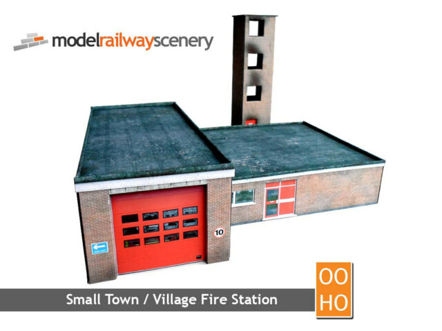 SMALL TOWN FIRE STATION CARD KIT - OO GAUGE / 1:76 FOR HORNBY BACHMANN OXFORD