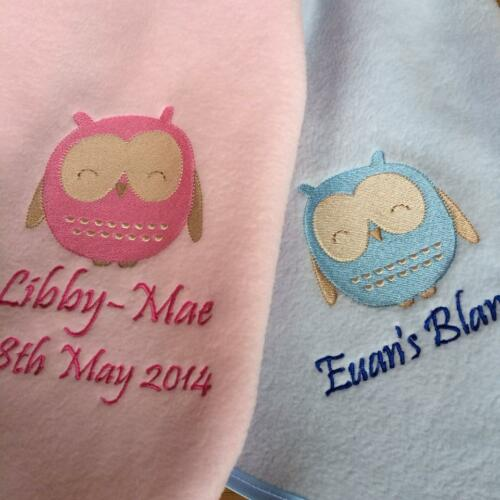 OWL DESIGN Personalised Embroidered Baby Blanket Cute unique New Baby Gift