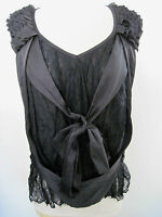 Amazing Ryu: Black Sleeveless Blouse With Lace And Front Bow Size M,new