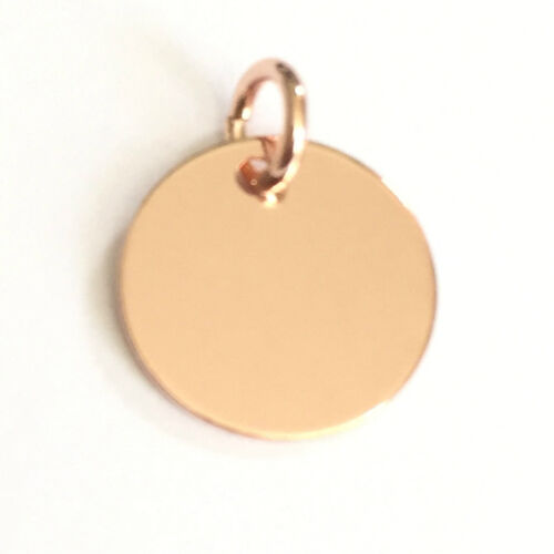 18K Rose Gold plated Sterling Silver 10mm Disc Charm For Engraving PK1 PK5