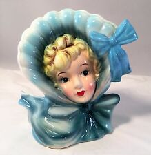 Vintage Head Vase Blonde Girl in Blue Bonnet with Bow - Not Perfect but Nice!