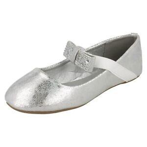 Details zu Spot on H2R380 Mädchen Silber Slip On Schuhe (R9A) J K