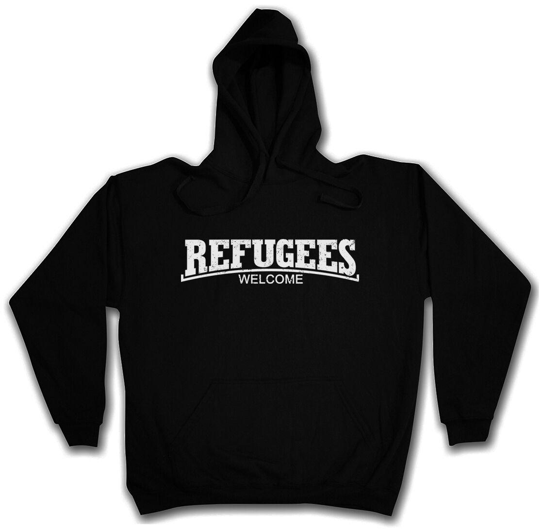 REFUGEES WELCOME III HOODED SWEAT Pro Flüchtlinge Asyl Hoodie Kapuzenpullover