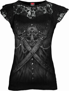 SPIRAL-DIRECT-STRAPPED-Corset-Lace-Layered-Top-Ladies-Steam-punk-Goth-Skull-Top