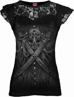 SPIRAL DIRECT STRAPPED Corset Lace Layered Top//Ladies//Steam punk//Goth//Skull//Top