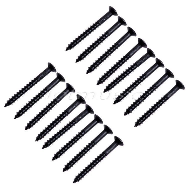16p black metal guitar neck plate mounting screw for fender strat tele backplate 634458556576