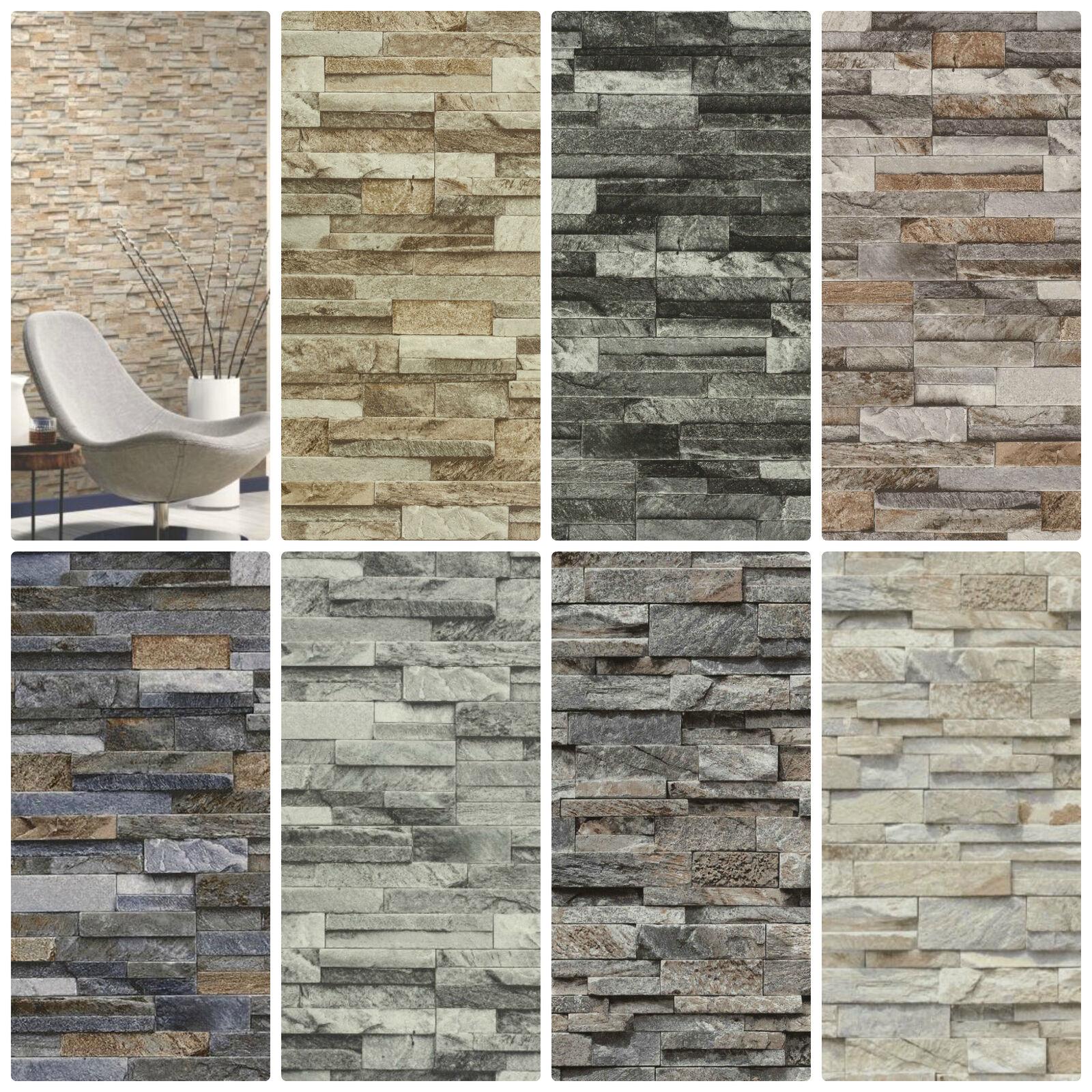 Split Face 3d Slate Brick Stone Effect Vinyl Wallpaper Paste The