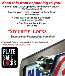 Tamper Free License Plate Security Locks Black Pearl Anti-Theft Stainless