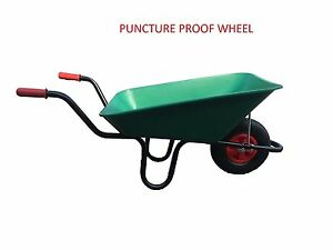 85L-GREEN-PLASTIC-WHEELBARROW-WITH-PUNCTURE-PROOF-WHEEL-MADE-IN-UK-EXCELLENT-Q
