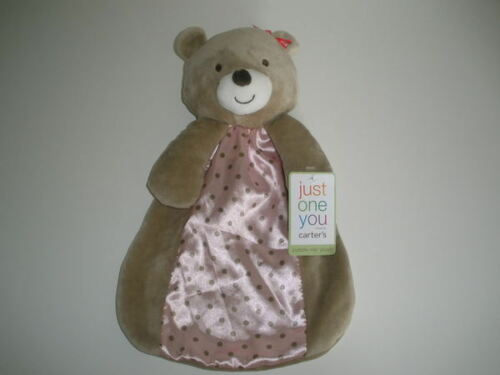 NWT Carters Just One You Tan Bear Rattle Pink Polka Dot Security Blanket Buddy