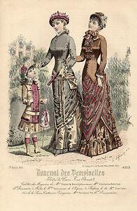 """94/ Gravure De Mode """" Journal Des Demoiselles """" 1881 Superbes Couleurs ! Correspondant En Couleur"""