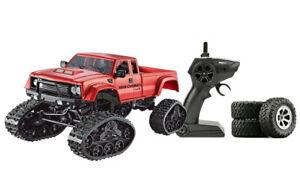 RC-Kettencrawler-Pickup-mit-Raedern-amp-Ketten-4WD-1-16-rot-inkl-Akku