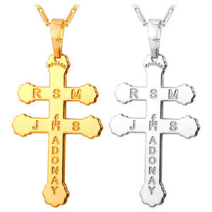 18K Gold Plated Patriarchal Cross Pendant Necklace Platinum