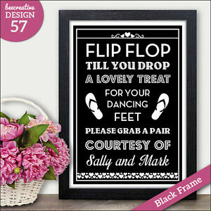 178f2db94dbde Wedding Flip Flop Sore Tired Feet Sign - Dancing Shoes Personalised ...
