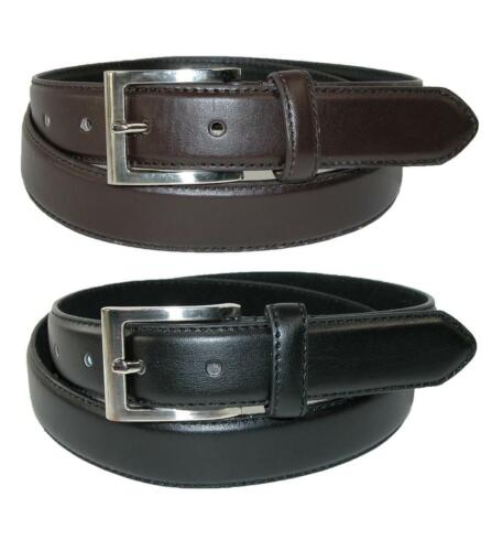 Pack of 2 New CTM Men/'s Big /& Tall Leather Dress Belt with Silver Buckle