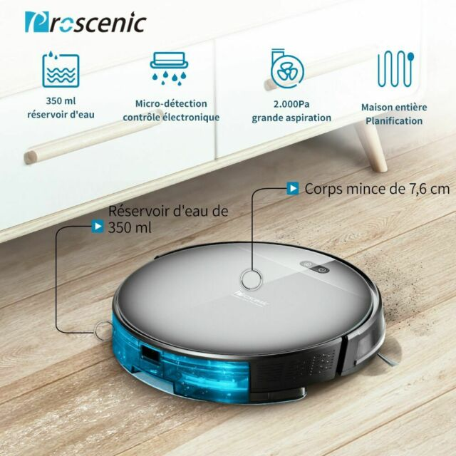 Proscenic 800T Alexa robot aspirateur laveur eau Nettoyeur Balayeuse mur virtuel