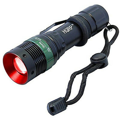 HQRP 3 Watt Red Light LED Black Flashlight for Astronomy, Aviation, Night Vision
