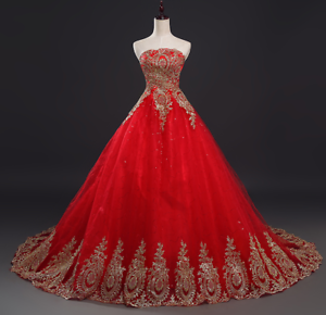 Image Is Loading Vintage Lace Red Wedding Dresses Long Train Plus