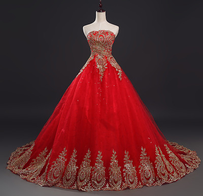 Vintage Lace Red Wedding Dresses Long Train Plus Size Bridal Gown In Stock  | eBay
